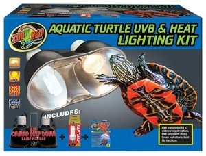 A combination heat and UV-B fixture is makes setting up turtle tanks easy.